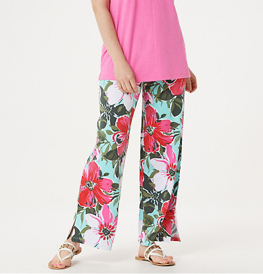 Denim & Co. Beach Pull-On Pants with Side Slits Size 1X Floral NWT