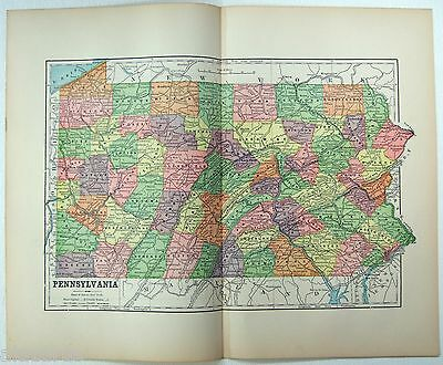 Original 1891 Map of Pennsylvania by Hunt & Eaton. Antique
