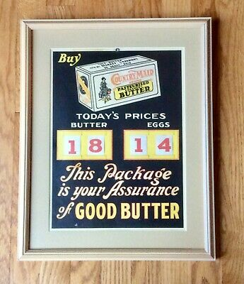 Antique Framed 1920'S Country Maid Creamery Butter General Store Advertising