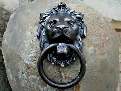 Vintage in Cast Iron Huge Gothic Door Knocker Handle Lion Head With Ring