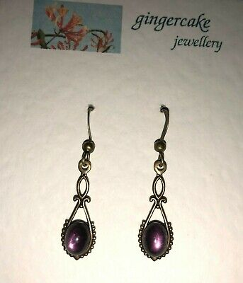 LOVELY SMALL SLIM VICTORIAN STYLE FACETED PINK PURPLE DRK GOLD PL EARRINGS hook