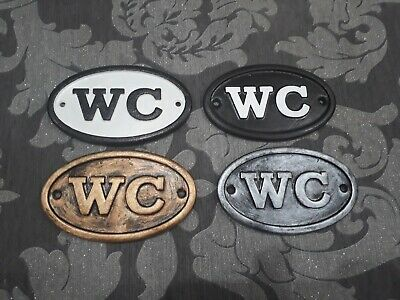 vintage victorian WC toilet door sign cast metal effect retro period shabby chic