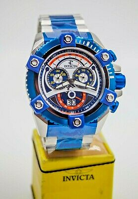 Invicta Men 63mm Retro JOKER Grand Octane 31416 Swiss Chrono Blue TT SS Watch