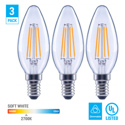 UL-Listed Lythe LED 6W Dimmable 6-Pack LED Candelabra Vintage Filament Bulb E12 550 Lumens, 60W Replacement 3000K Soft White LytheLED Candelabra Base