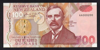 NEW ZEALAND P-181a.  (1992) 100 Dollars - Brash.. 1st Prefix AA..  UNC