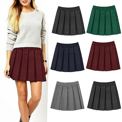 New Elasticated Waist Skirt Kids School Uniform Girls School Skirts Box  Pleated