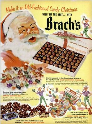 1952 Brach's Candy PRINT AD Santa Old Fashioned Candy Chocolates