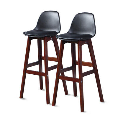 2x Levede Beech Wooden Bar Stool Kitchen Stool Dining Chair Barstools Black