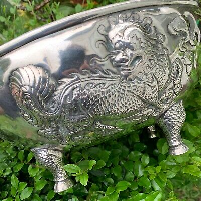 Magnificent Big Silver Plated Asian Dragon Bowl Antique 1920s Chinese Oriental