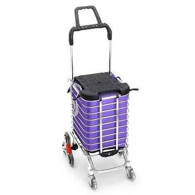Foldable Shopping Cart Trolley Stainless Steel Basket Luggage Grocery Portable