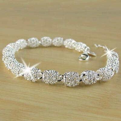 Gorgeous Women Lady 925 Silver Charm Chain Bangle Bracelet Wedding Jewelry Gifts