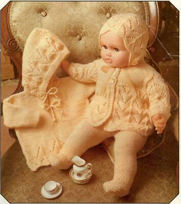 Vintage Baby Dolls Clothes Knitting Pattern Copy  8 ply 59 cms Doll