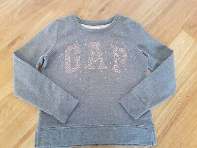 Girls GAP Grey Jumper with Pink Sparkly Logo Aged 12
