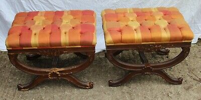 1960's - Pair Mahogany Foot Stools in Yellow and Orange.