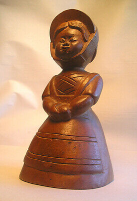 An Antique Signed Japanese Carved Wood Doll Z19