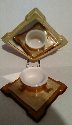 Vintage art deco folding travel shaving kit with mirror and  cup