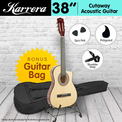 NEW 38in NATURAL KARRERA ACOUSTIC GUITAR WITH PICK GUARD STEEL STRING BAG