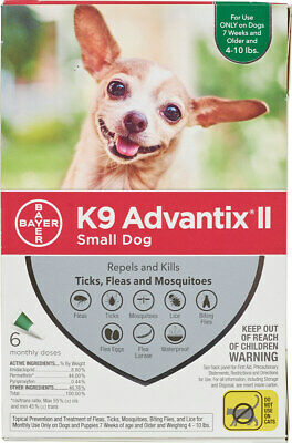 K9 Advantix II for Small Dogs 4-10 lbs - 6 Pack - FREE Shipping