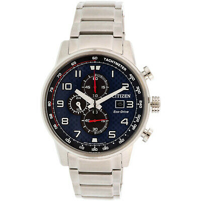 Citizen Men's Eco-Drive CA0680-57L Blue Stainless-Steel Japanese Chronograph ...