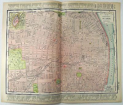 Original 1895 Map of St. Louis, MO by Rand McNally. Antique