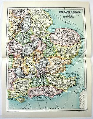 Original 1909 Map of Eastern England & Wales by John Bartholomew. Antique