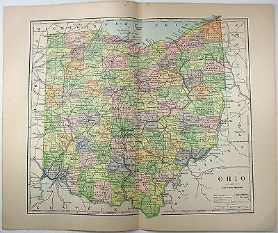 Original 1891 Map of Ohio by Hunt & Eaton. Antique