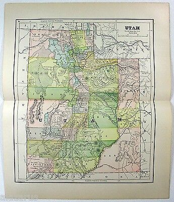 Original 1891 Map of Utah by Hunt & Eaton. Antique