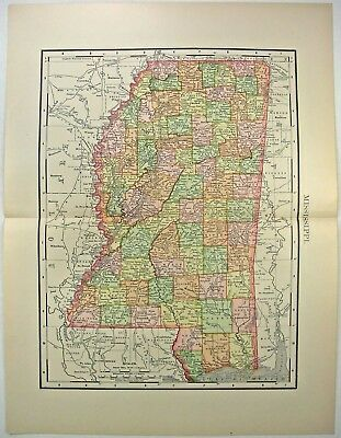 Original 1895 Map of Mississippi by Rand McNally. Antique