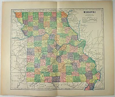 Original 1891 Map of Missouri by Hunt & Eaton. Antique