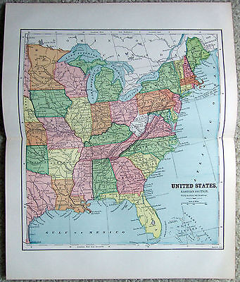 Original 1882 Map of The Eastern United States by Phillips & Hunt. Antique