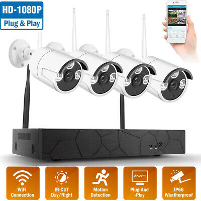 8CH Wireless WIFI 1080P NVR Outdoor IR IP Camera CCTV Home Security System M7N3