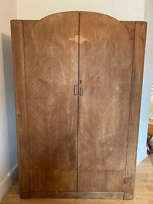 Vintage Art Deco walnut single, wardrobe,shelves,hanging rail, Beautiful