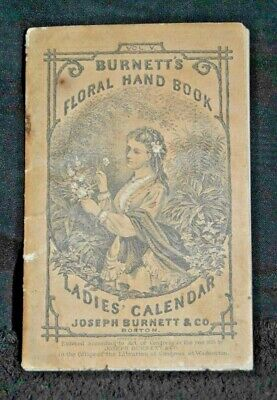 "1876 Antique Burnett's Advertising Calendar ""Cocoaine Gives New Life To Hair"" @1"
