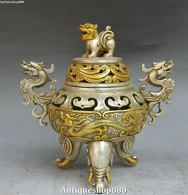 "9"" Chinese Silver Gilt Ming Dynasty Dragon Lion Elephant Incense Burner Censer"