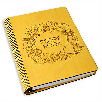 A5 Wooden Blank Recipe Book to Write in - Cook Book for Handwritten Recipes