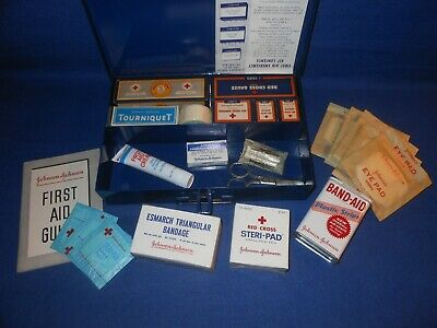 Vintage Johnson & Johnson 1960 First Aid Emergency Kit with Original Contents