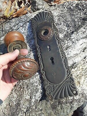 Antique Brass Door Knob Set Eastlake Old vintage large double Keyhole plate