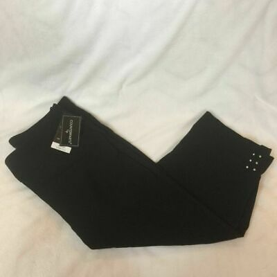 Counterparts Womens Cropped Pants Black Elastic Waist Stretch Studded 14 New