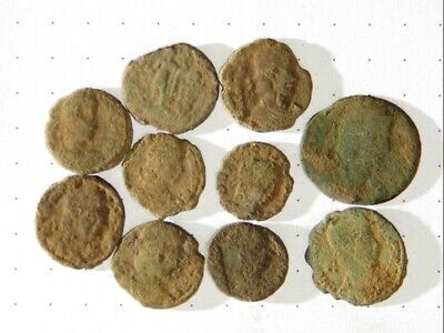 10 ANCIENT ROMAN COINS AE3 - Uncleaned and As Found! - Unique Lot 06401