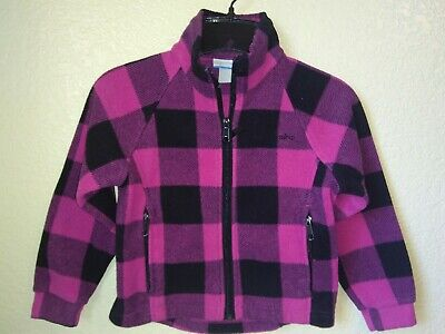 Columbia Sportswear Girls Pink Black Zip Up Fleece Jacket Size 6/6x
