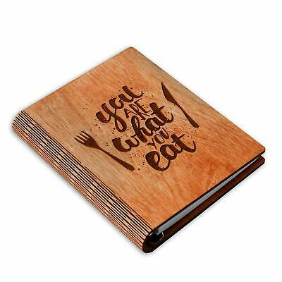 Woxteed A5 Wooden Blank Recipe Book to Write in (7.5 x 6 inch) - Cook Book with
