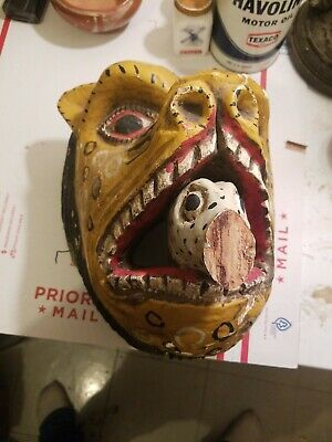 Antique Leopard Lion Face Mask Tribal Estate Fresh Old