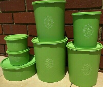 Vintage Retro Tupperware Servalier Green x7 Round Canisters