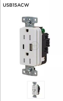 HUBBELL WIRING DEVICE-KELLEMS USB Charger Receptacle,2 Ports,2 Poles, USB15AC5W