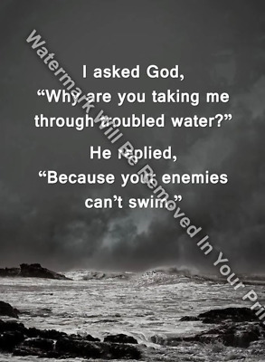 GOD LEADS ME Through Troubled Waters Religious Inspirational Matted/Unmatted R22