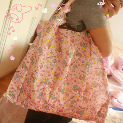 Cute Pink Little Twin Stars Folding Shopping Bag Eco-friendly Large Capacity
