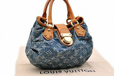 Authentic Louis Vuitton Monogram Denim Pleaty Hand Bag M95020 LV 92386