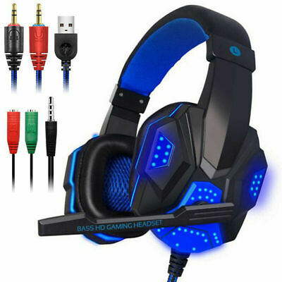 Gaming Headphones Wired Over the Ear Headset Stereo with Mic For Xbox One PS4