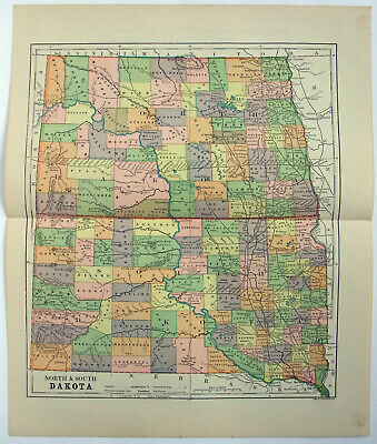 Original 1891 Map of North & South Dakota by Hunt & Eaton. Antique