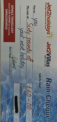 1 × NEW Jet2Holidays £60Rain Cheque voucher 2020 SUMMER CODES CHEAPEST ON EBAY!